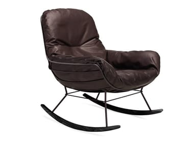 Rocking upholstered leather armchair with armrests LEYASOL ROCKING LOUNGE