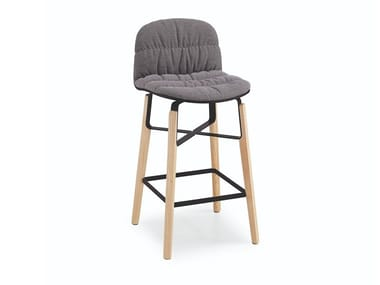 High fabric stool with back with footrest LIÙ H65 / H75 TS