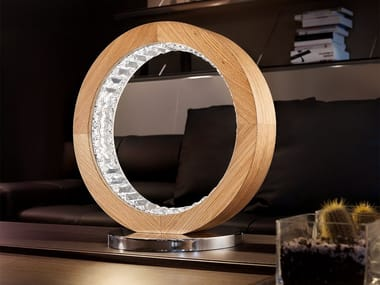 Lampe de table LED en chêne pour éclairage direct LIBE ROUND TL40