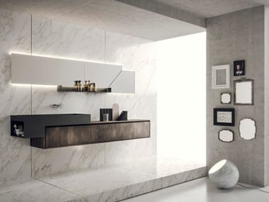 Lacquered wall-mounted vanity unit with mirror LIBERA+ | COMPOSIZIONE 01