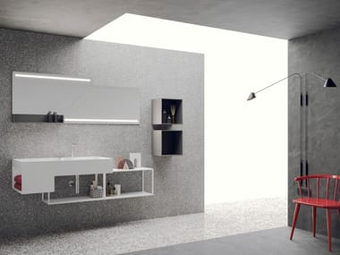 Lacquered wall-mounted vanity unit with mirror LIBERA + | COMPOSIZIONE 03
