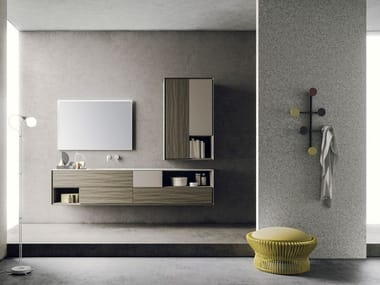 Lacquered wall-mounted ash vanity unit with mirror LIBERA + | COMPOSIZIONE 04