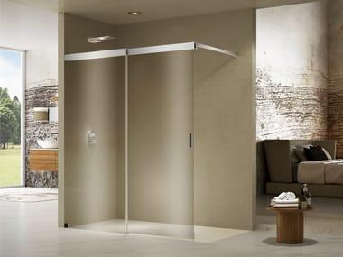 Box doccia angolare rettangolare in cristallo con porta scorrevole LIBERO 5000 INLAB | Box doccia con piatto