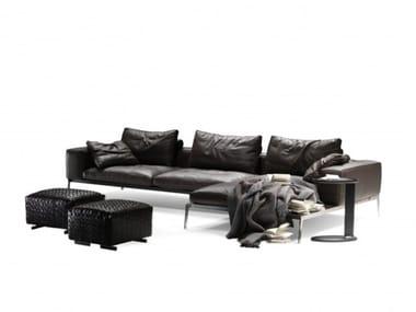 Sofá composable 3 plazas de cuero LIFESTEEL | Sofá con chaise-longue