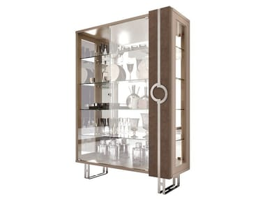 Contemporary Style Lacquered Crystal Display Cabinet With Integrated Lighting Lift