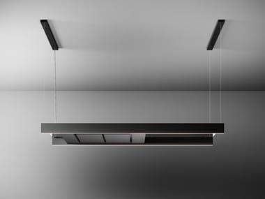 Glass and steel island hood with integrated lighting LIGHT