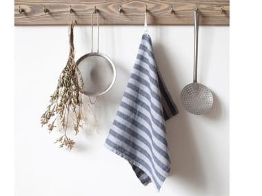 Linen dishcloth LIGHT GREY WIDE STRIPES