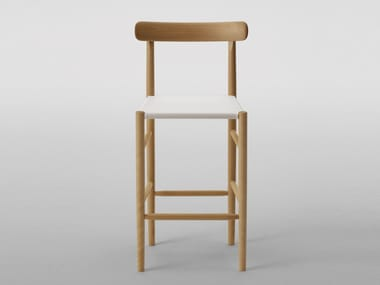 High maple stool with back LIGHTWOOD 2633-20/2642-20