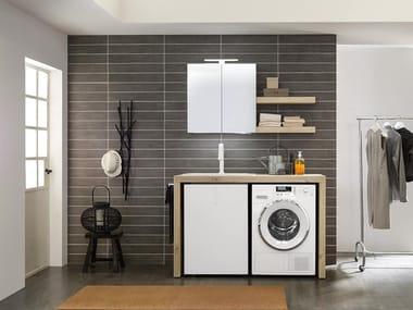 Mobili per lavanderia con elementi contenitori LIME WASH | Composizione 04