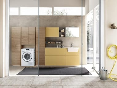 Mobili per lavanderia con elementi contenitori LIME WASH | Composizione 09
