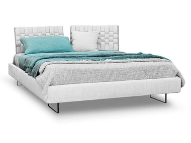Fabric double bed with upholstered headboard LIMES