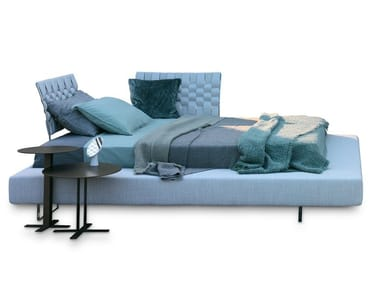Fabric double bed with upholstered headboard LIMES LARGE
