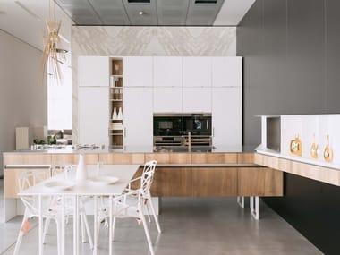 Custom wooden kitchen with island LINE