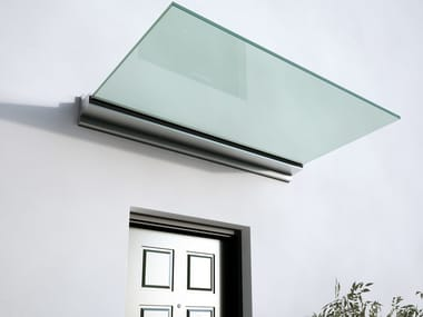 Glass and aluminium door canopy with built-in lights LINEA | Glass door canopy
