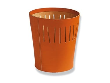 Tanned leather waste paper bin LINEA | Waste paper bin
