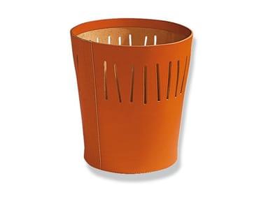 Tanned leather waste paper bin LINEA | Waste paper bin
