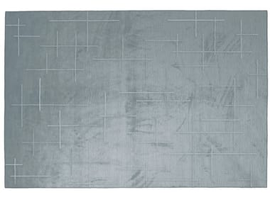 Solid-color rectangular silk rug LINES