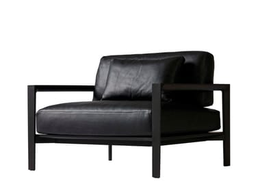Leather armchair with armrests LING | Leather armchair