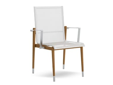 Stackable teak and fabric garden chair with armrests LINK | Chair with armrests