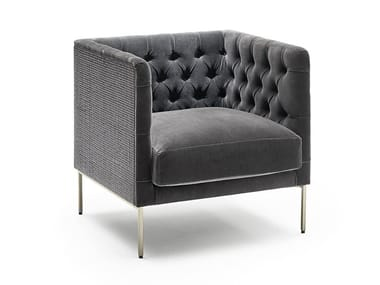 Tufted fabric armchair with armrests LIPP RATTAN