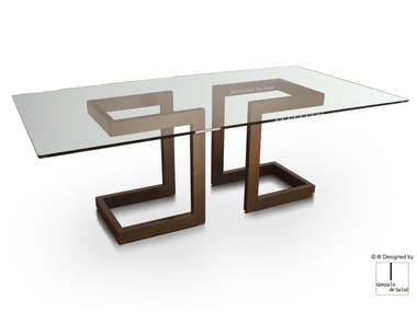 Rectangular glass and iron dining table LISA | Rectangular table