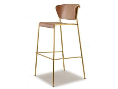High stackable wooden stool with back LISA WOOD | High stool