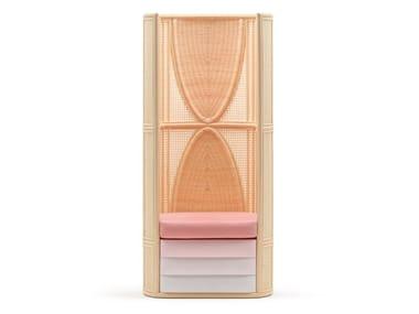 High-back woven wicker armchair LISETTA | High-back armchair