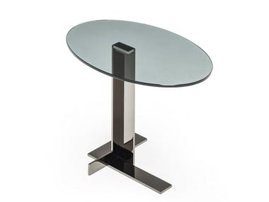 Round glass side table LITH | Oval coffee table