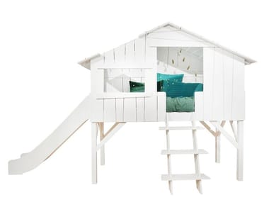 Loft MDF bed with slide LITS CABANES | Loft bed