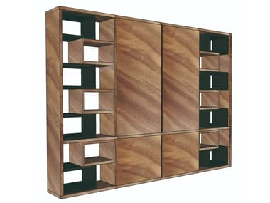 Freestanding wooden storage wall LIVIA | Storage wall