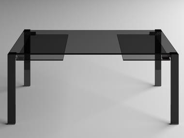 Extending rectangular glass table LIVINGSTONE DARK