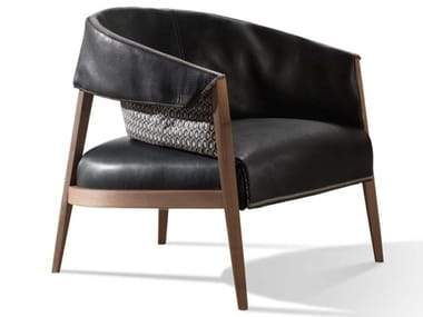 Leather armchair with armrests LIZA | Armchair