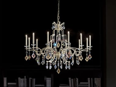 Direct light painted metal chandelier with crystals LIZZI 6+6