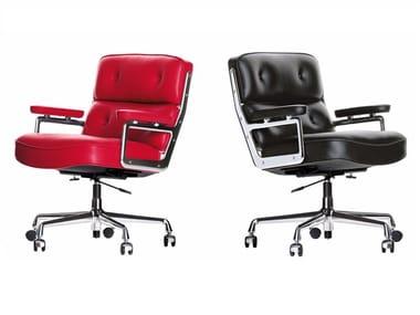 Cadeira executiva ajustável em altura de pele de 5 raios com braços LOBBY CHAIR ES 104