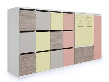 Lacquered office storage unit with lock LOCKERS