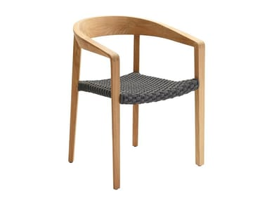 Stackable teak chair with armrests LODGE | Stackable chair