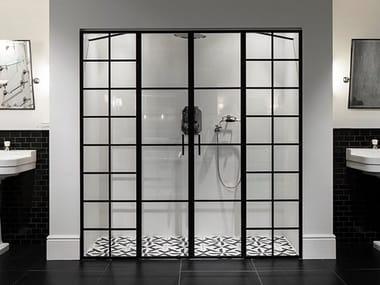 Cabine de douche en niche en aluminium et verre LOFT