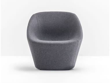 Upholstered fabric armchair with armrests LOG 366