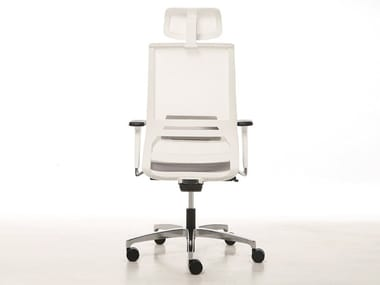 Executive chair with headrest with castors LOGICA WHITE | Executive chair