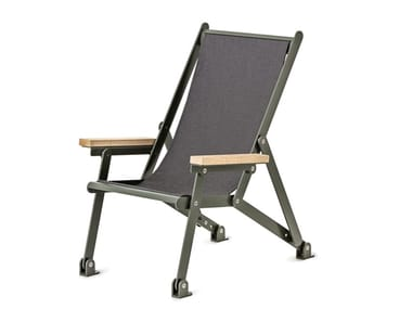 Folding powder coated steel deck chair with armrests LOJ SUN CHAIR