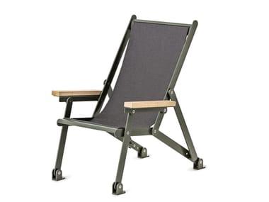Silla de playa plegable de acero revestido de polvo con brazos LOJ SUN CHAIR