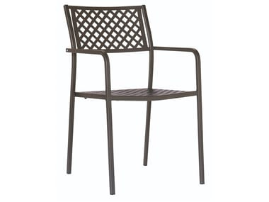Stackable galvanized steel chair with armrests LOLA 2