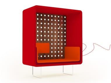 Upholstered high-back engineered wood armchair LOLA