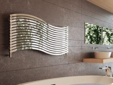 Radiateur décoratif à eau chaude horizontal en acier brillant LOLA | Radiateur décoratif horizontal