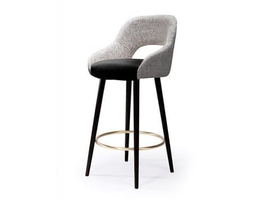 Upholstered fabric stool with back with footrest LOLA | Stool