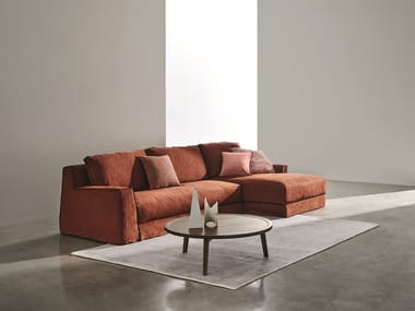 Sofa with removable cover with chaise longue LOLL | Sofa with chaise longue