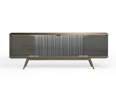 Glass sideboard with doors with integrated lighting LONDON | Sideboard