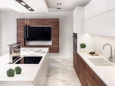 Lacquered custom kitchen with island LONDON