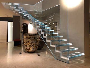LED glass Open staircase LONDRA FLOAT