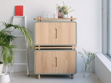 Wooden highboard with doors LOOP 88